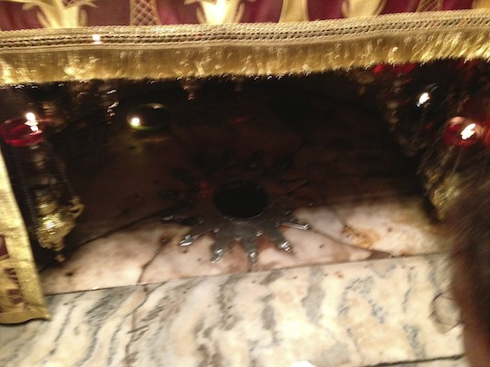 Traditional birth spot of Jesus in Church of the Nativity; Photo by Jim Hooker