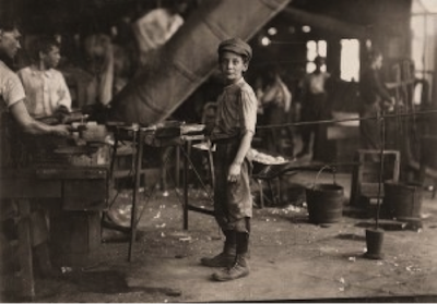 Young Worker in American Glass Factory